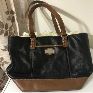 Tignanello Black / Brown Purse Hard Bottom Stands